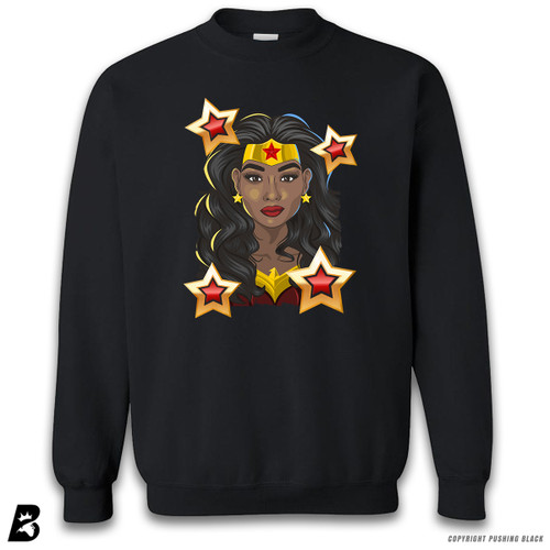 'Black Woman of Wonder - Black Superhero' Premium Unisex Sweatshirt