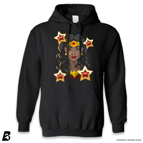 'Black Woman of Wonder - Black Superhero' Premium Unisex Hoodie with Pocket