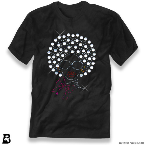 'Rhinestone - Black Woman with Pearl Afro' Premium Unisex T-Shirt
