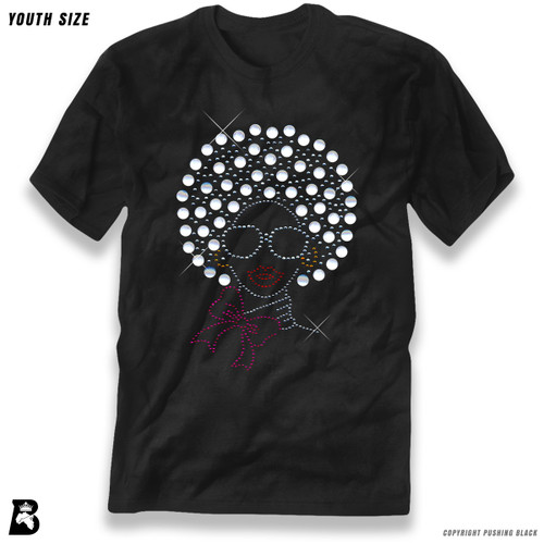 'Rhinestone - Black Woman with Pearl Afro' Premium Youth T-Shirt
