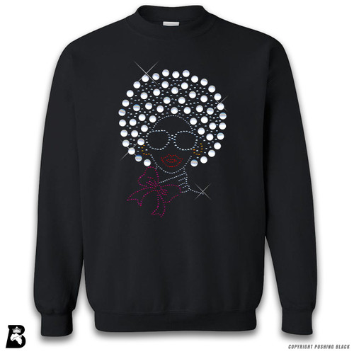 'Rhinestone - Black Woman with Pearl Afro' Premium Unisex Sweatshirt