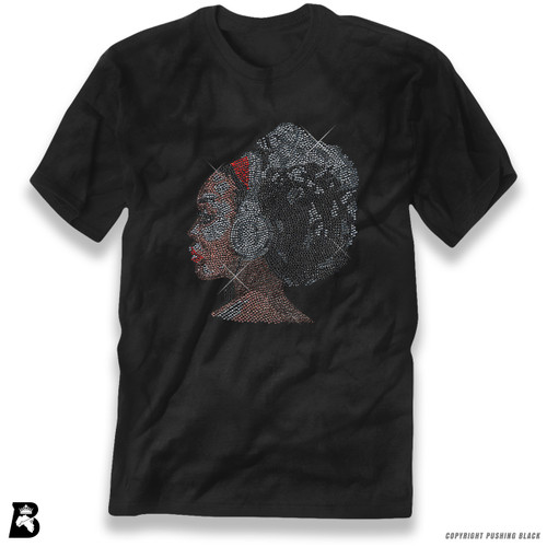 'Rhinestone - Black Woman with Afro and Headphones' Premium Unisex T-Shirt