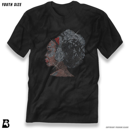 'Rhinestone - Black Woman with Afro and Headphones' Premium Youth T-Shirt