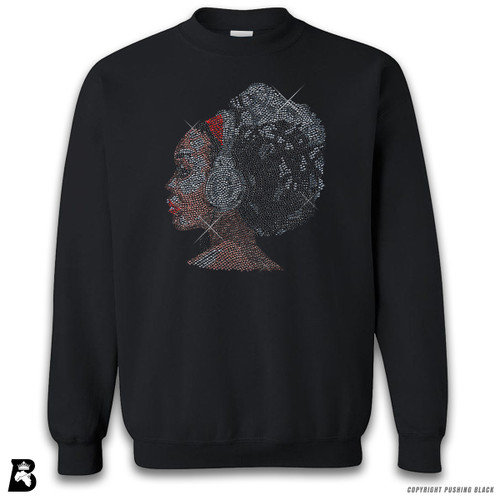 'Rhinestone - Black Woman with Afro and Headphones' Premium Unisex Sweatshirt