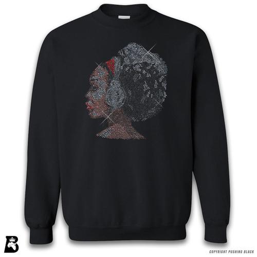 'Rhinestone - Black Woman with Afro and Headphones' Premium Unisex Sweatshirt