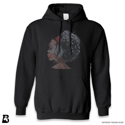 'Rhinestone - Black Woman with Afro and Headphones' Premium Unisex Hoodie with Pocket