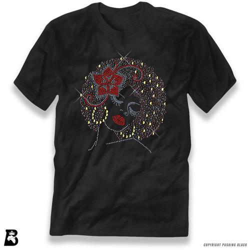 'Rhinestone - Black Woman with Afro and Flower' Premium Unisex T-Shirt
