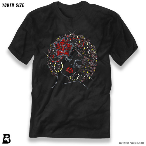 'Rhinestone - Black Woman with Afro and Flower' Premium Youth T-Shirt