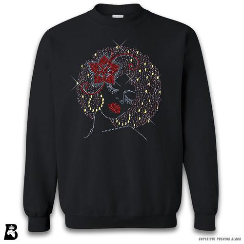 'Rhinestone - Black Woman with Afro and Flower' Premium Unisex Sweatshirt