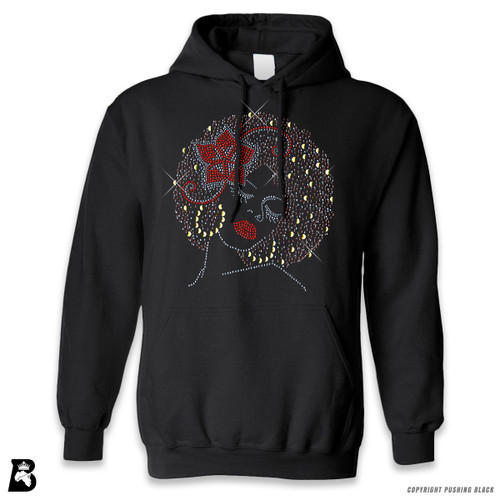 'Rhinestone - Black Woman with Afro and Flower' Premium Unisex Hoodie with Pocket