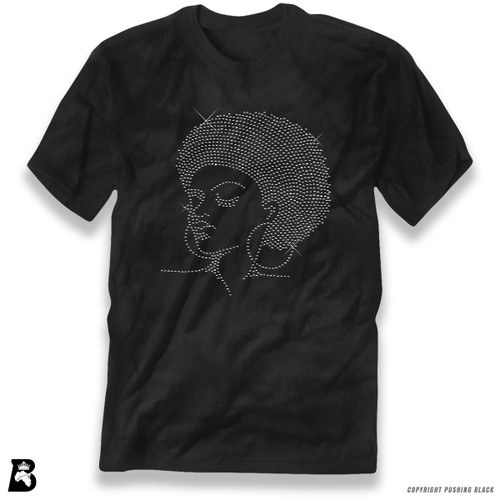 'Rhinestone - Black Woman with Afro and Earrings' Premium Unisex T-Shirt