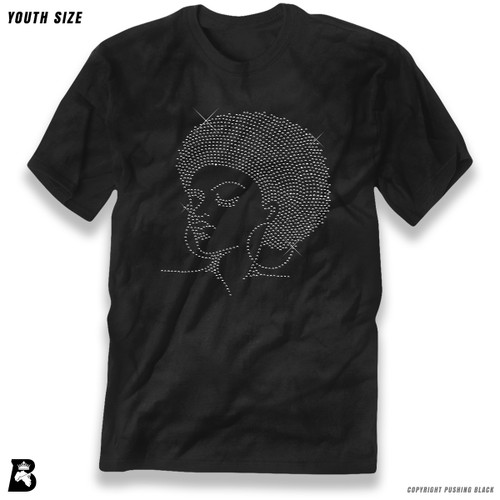 'Rhinestone - Black Woman with Afro and Earrings' Premium Youth T-Shirt