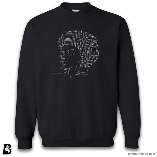'Rhinestone - Black Woman with Afro and Earrings' Premium Unisex Sweatshirt