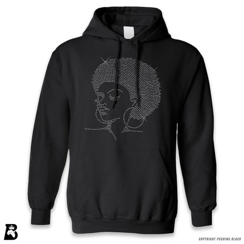 'Rhinestone - Black Woman with Afro and Earrings' Premium Unisex Hoodie with Pocket