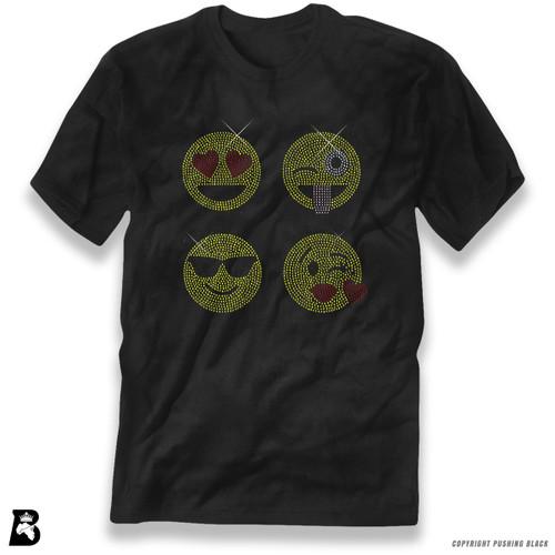 'Rhinestone - Four Emoji Faces' Premium Unisex T-Shirt