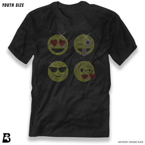 'Rhinestone - Four Emoji Faces' Premium Youth T-Shirt