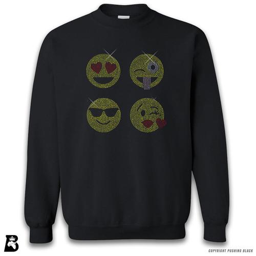 'Rhinestone - Four Emoji Faces' Premium Unisex Sweatshirt