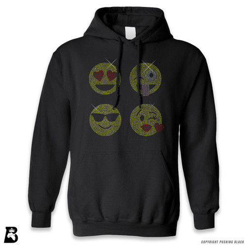 'Rhinestone - Four Emoji Faces' Premium Unisex Hoodie with Pocket