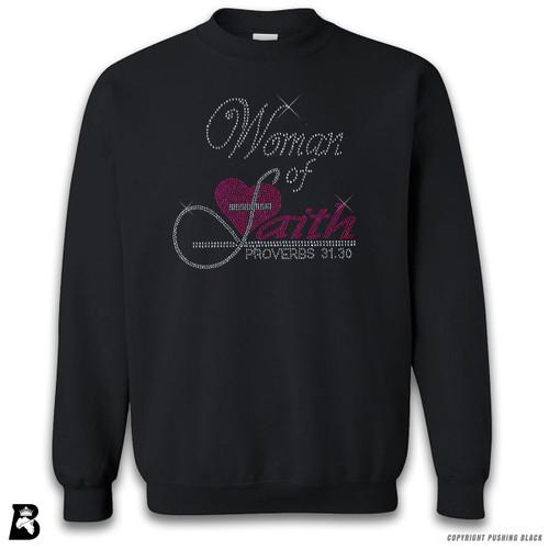 'Rhinestone - Woman of Faith Proverbs 31:30' Premium Unisex Sweatshirt
