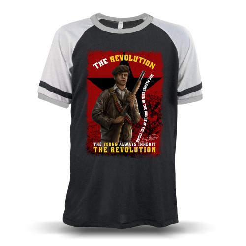 'Huey P. Newton - The Young Inherit The Revolution' Unisex Raglan T-Shirt (Alternative 5093BP)
