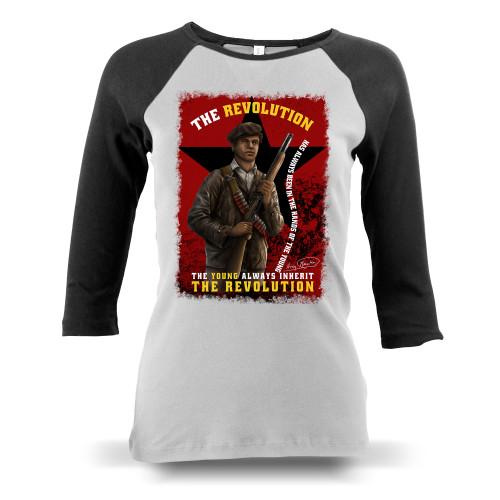 'Huey P. Newton - The Young Inherit The Revolution' Ladies Raglan Long-Sleeve (Bella + Canvas B2000)
