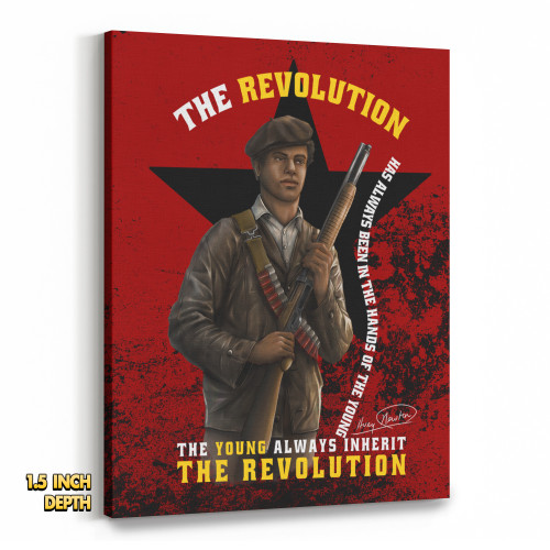 'Huey P. Newton - The Young Inherit The Revolution' Premium Wall Canvas (Pushing Black CNVS)