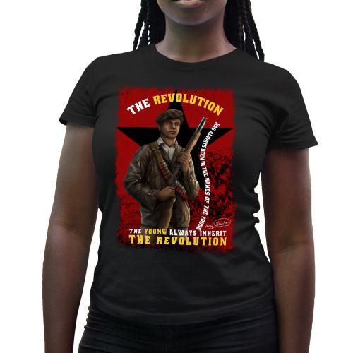 'Huey P. Newton - The Young Inherit The Revolution' Ladies T-Shirt (Gildan G500L)