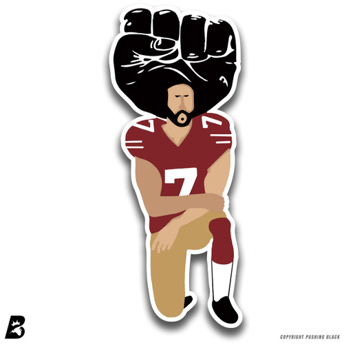'#IMWITHKAP Kneeling Colin Kaepernick with Afro Fist' Premium Multi-Purpose Decal
