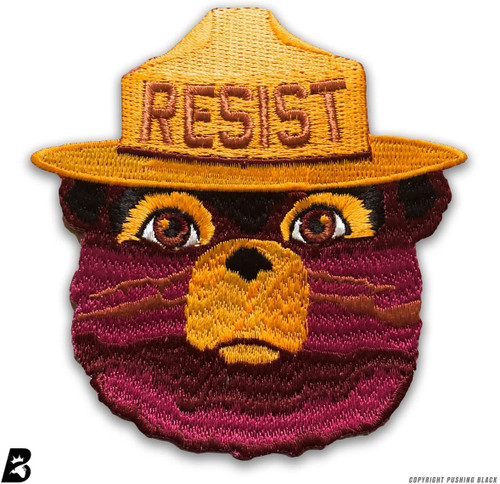 RESIST - Smokey the Bear - Embroidered Iron On Patch