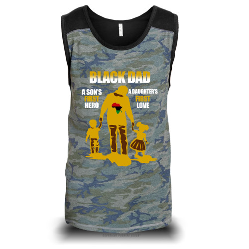 Black Dad - A Sons First Hero, A Daughters First Love Unisex Raglan Tank Top
