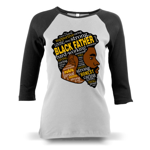 Black Fatherhood Ladies Raglan Long Sleeve