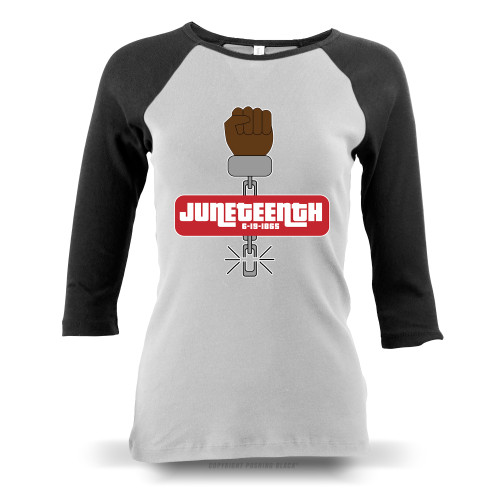 Juneteenth - Black Freedom Ladies Raglan Long Sleeve