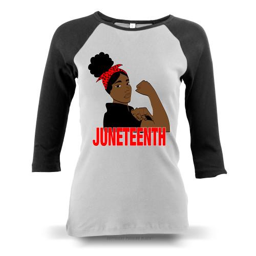 Juneteenth Freedom Fighter Ladies Raglan Long Sleeve
