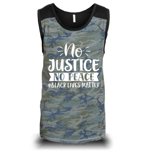 No Justice No Peace #BLACKLIVESMATTER Unisex Raglan Tank Top