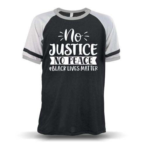 No Justice No Peace #BLACKLIVESMATTER Unisex Raglan T-Shirt