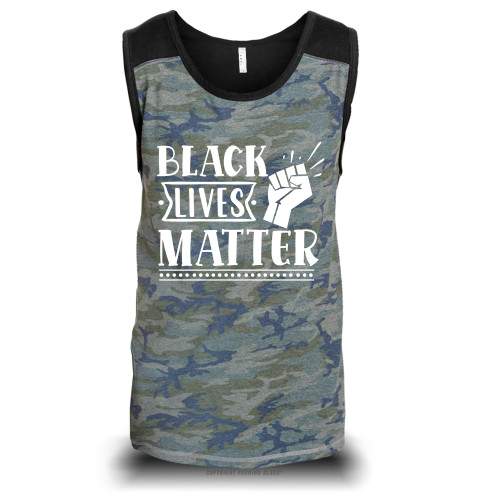 Black Lives Matter Fist Up Unisex Raglan Tank Top