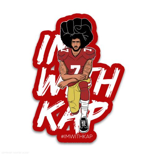 Colin Kaepernick Kneeling - #IMWITHKAP Weatherproof Vinyl Decal