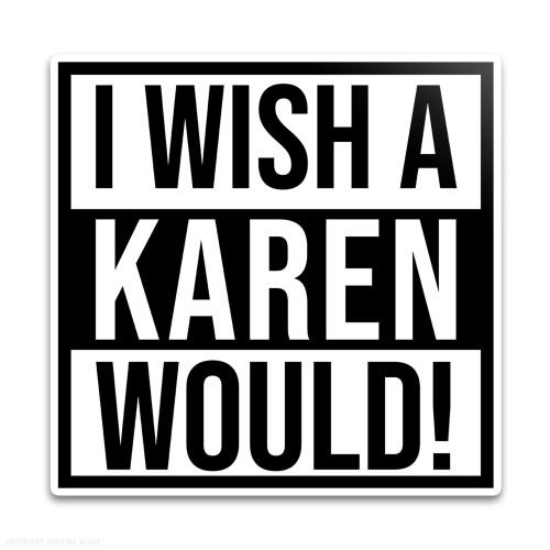 I Wish A Karen Would Weatherproof Vinyl Decal
