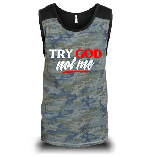 Try God. Not Me. Unisex Raglan Tank Top