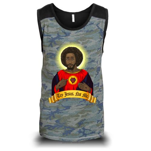 Try Black Jesus. Not Me. Unisex Raglan Tank Top