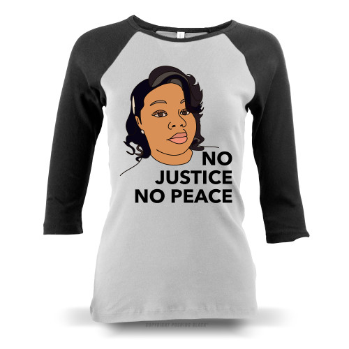 Breonna Taylor No Justice No Peace Ladies Raglan Long Sleeve