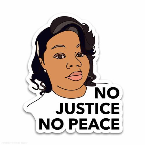 Breonna Taylor No Justice No Peace Weatherproof Vinyl Decal