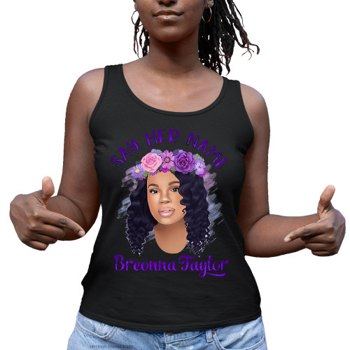 Breonna Taylor with Flower Crown - Say Her Name Ladies Tank Top