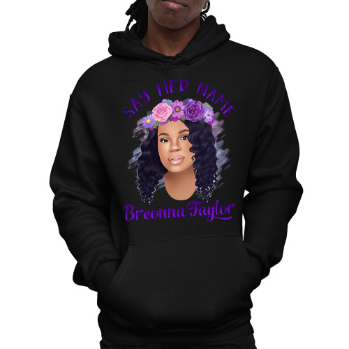 Breonna Taylor with Flower Crown - Say Her Name Unisex Pullover Hoodie
