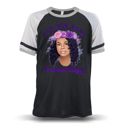 Breonna Taylor with Flower Crown - Say Her Name Unisex Raglan T-Shirt