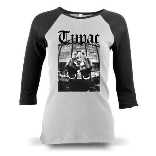 Tupac Me Against the World Ladies Raglan Long Sleeve