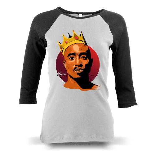 King Tupac Shakur Ladies Raglan Long Sleeve
