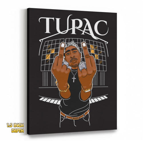 Tupac Middle Finger Up Premium Wall Canvas