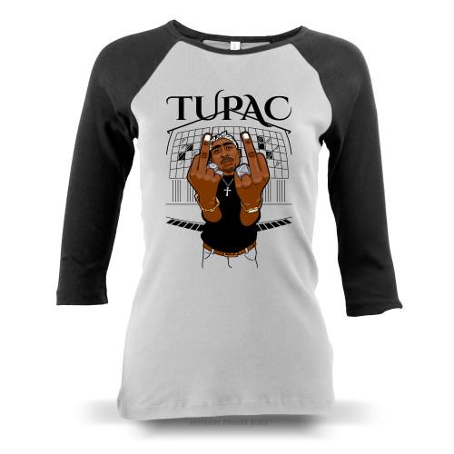 Tupac Middle Finger Up Ladies Raglan Long Sleeve
