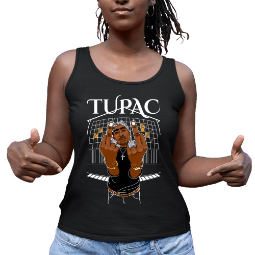 Tupac Middle Finger Up Ladies Tank Top